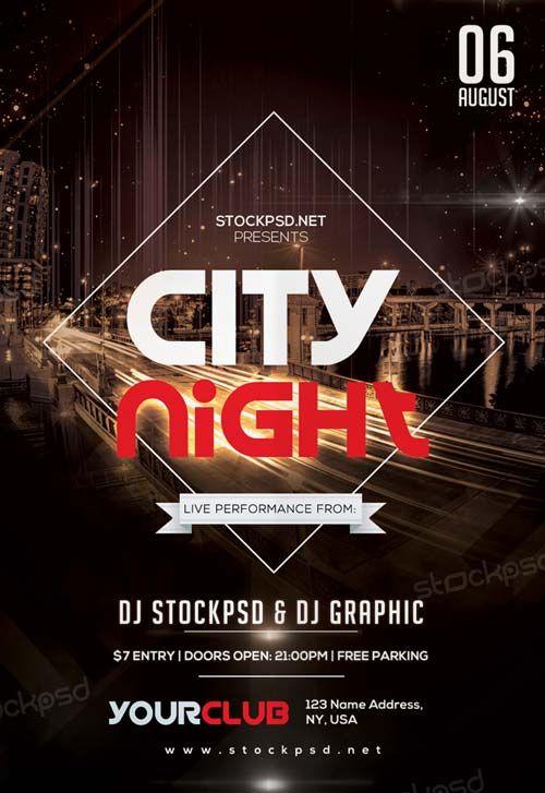 City Night Free PSD Flyer Template -    freepsdflyer city - hip hop flyer template
