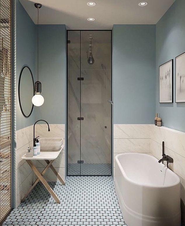 Boden evtl Gäste WC, Lampe Spiegel top #bluegreykitchens