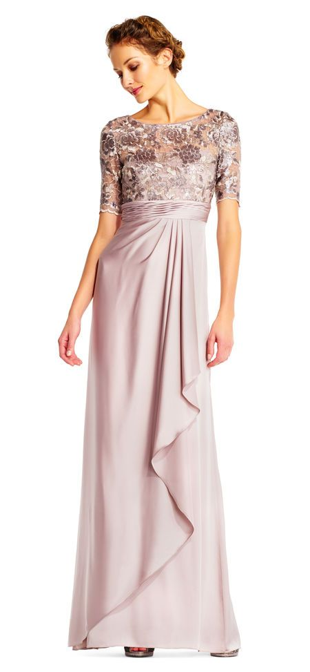 Adrianna Papell | Draped Satin Dress with Floral Sequin Bodice and ...