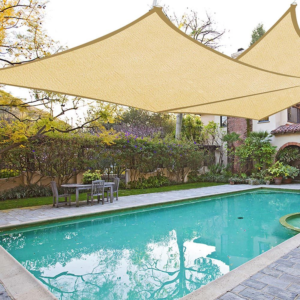 2x Sun Shade Sail Patio Outdoor Canopy Pool Uv Block Cover Triangle Square Shade Pool Shade Sun Sail Shade Shade Sails Patio
