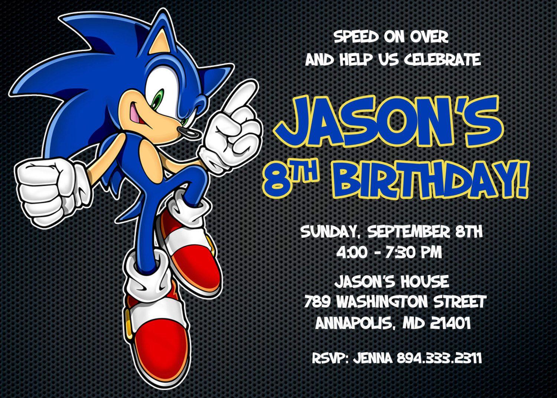 Mario Sonic Personalized Digital Birthday Party Invitation – Sonic Birthday Invitations