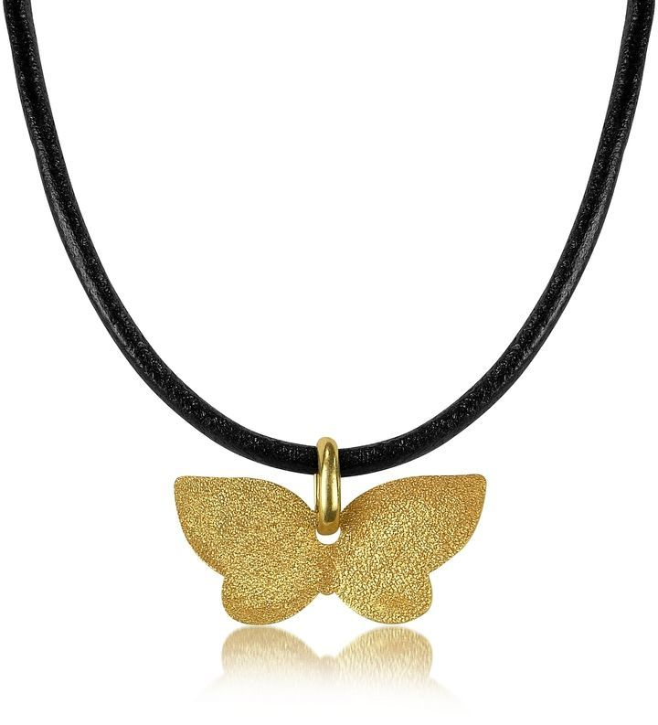Stefano Patriarchi Gold Plated Sun Necklace With Leather