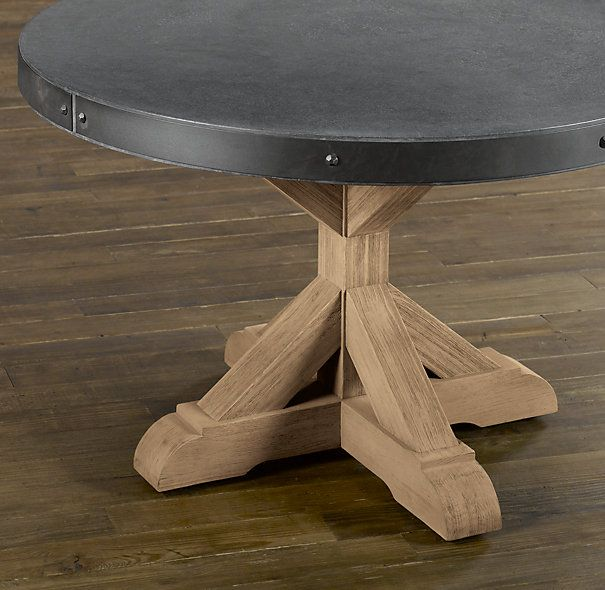 Amazing Concrete And Teak Round Dining Table   RH