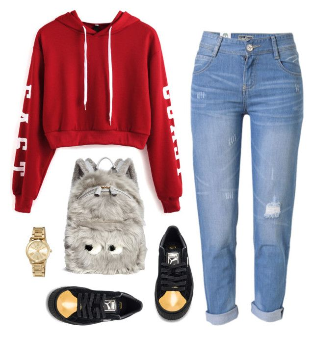 """""""Cool"""" by h-carter on Polyvore featuring moda, WithChic, Puma, Anya Hindmarch i MICHAEL Michael Kors"""