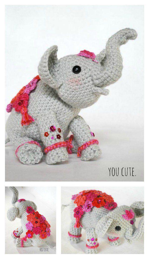 Adorable Crochet Elephant Amigurumi Free Patterns   Modelos lindas ...
