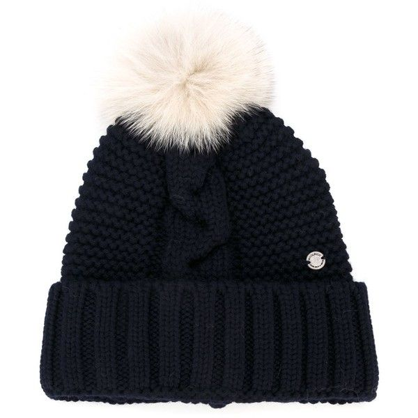 862c13132d574 Woolrich fox fur pom-pom beanie ( 110) ❤ liked on Polyvore featuring blue  and woolrich