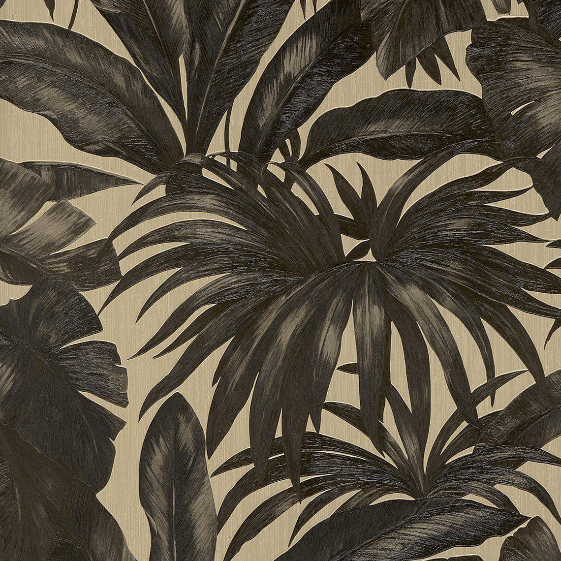 papier peint darcy vinyle sur intiss motif tropical noir et dor en 2019 cuisine papier. Black Bedroom Furniture Sets. Home Design Ideas