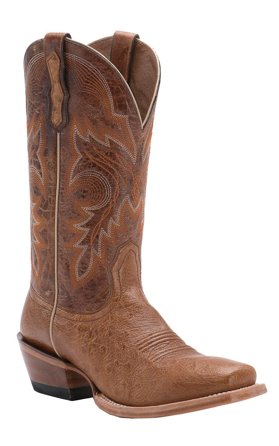 Ariat Ranchero Antique Saddle Smooth Ostrich Punchy Square Toe Western Boot Boots Snakeskin Boots Ostrich Boots