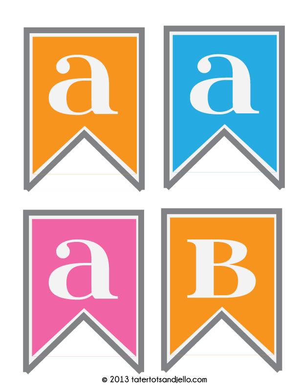 FREE Pink Blue and Orange Pennant Printables