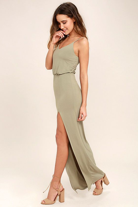 8c3a9aaec Sit back and enjoy the view in the Watch the Sunset Washed Olive Green Maxi  Dress