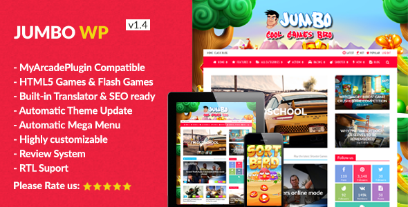 Jumbo - WordPress Magazine & Arcade Theme for HTML5 Games | Juego