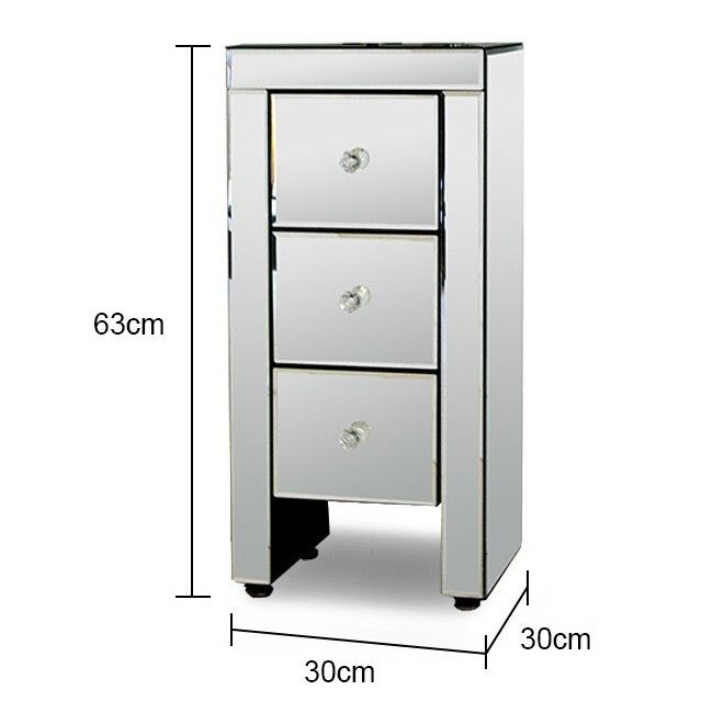 Narrow Mirrored Bedside Table | Mirror
