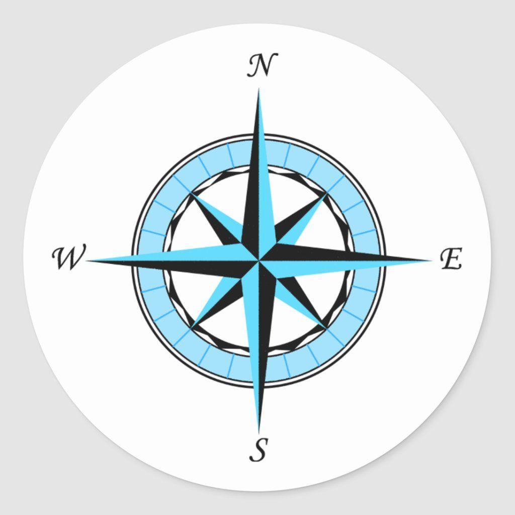 Blue compass rose nautical icon classic round sticker