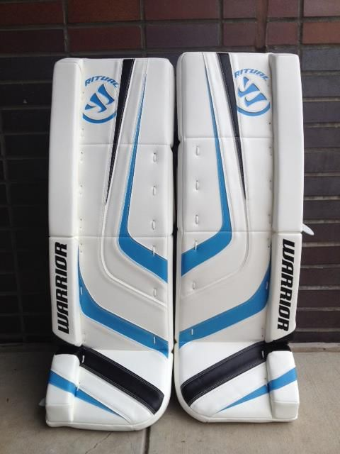 Awesome Light Blue Accents On These Warrior Ritual Leg Pads Order A Custom Set At Http Goalie Totalhockey Com De Goalie Pads Hockey Goalie Gear Goalie Gear