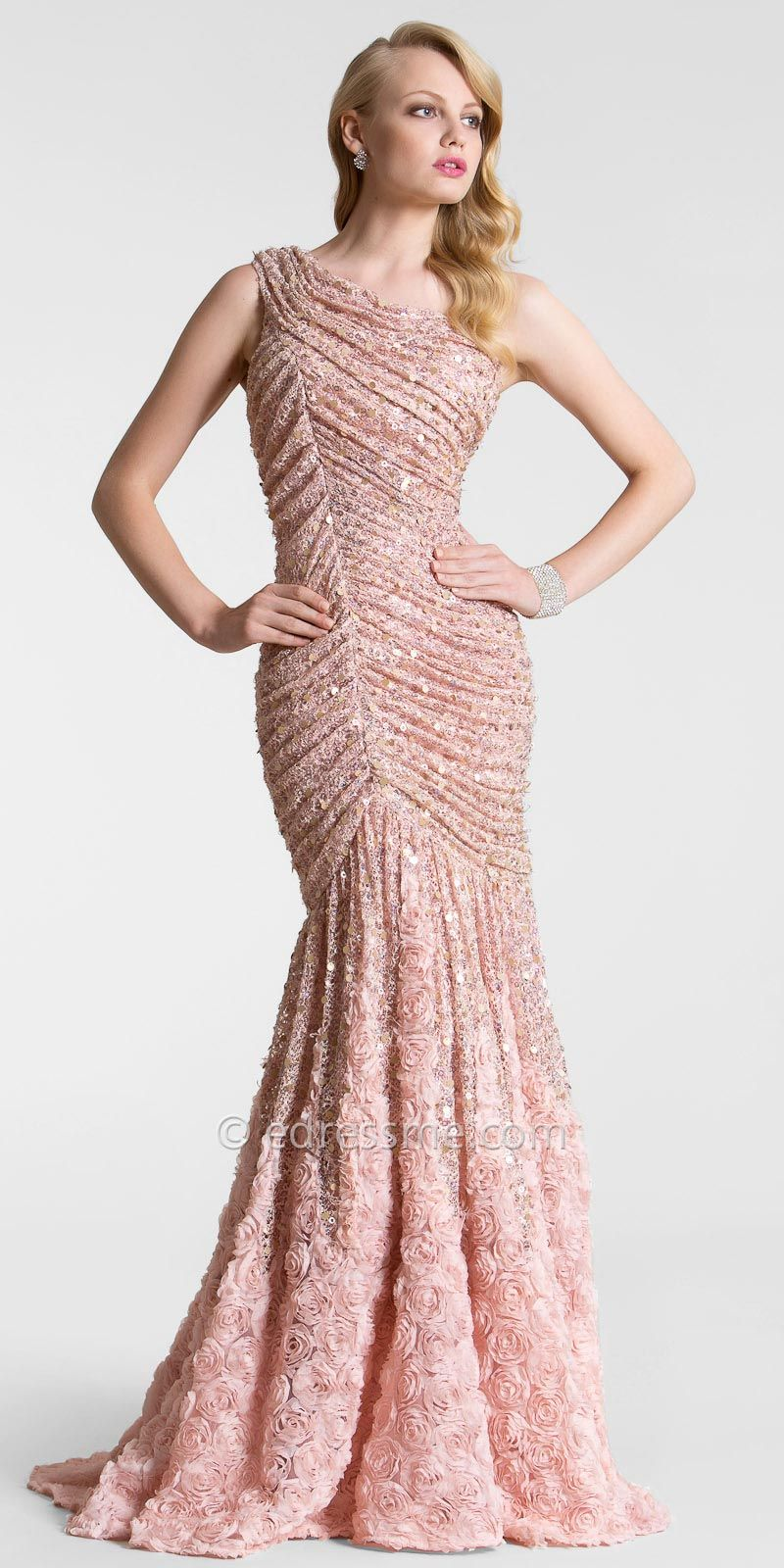 blush_flower_sequin_lace_evening_dresses- | Lace Evening Dress ...