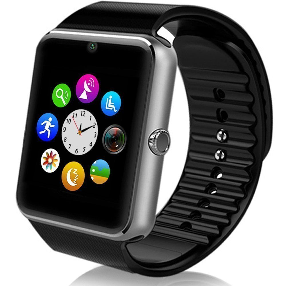 "NESTAR Smartwatch GT08 Bluetooth Smart Watch Phone with SIM Card for Iphone and Andriod Smartphone (Sliver). Beautiful 1.54"" LCD Capacitive Touch Screen with high resolution. Support hands-free calls /Answer or Dial calls from your wrist for Android/iOS. Please note you can see the caller ID on your watch if you sync the contact information through Bluetooth connection. Compatible with Android System(full function support)and IOS System (limited function support,it can work with iPhone as…"