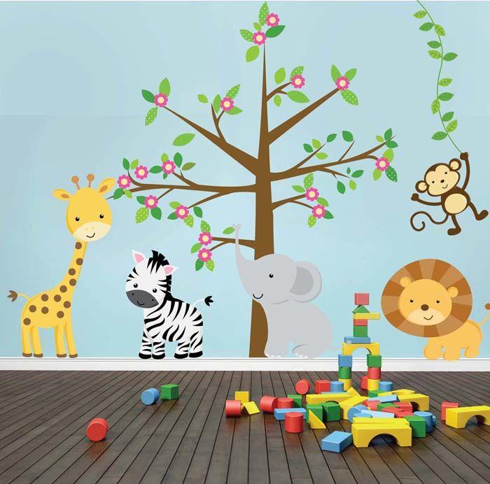 Kit de vinilo autoadhesivo arbol con animales de la selva - Vinilo arbol infantil ...