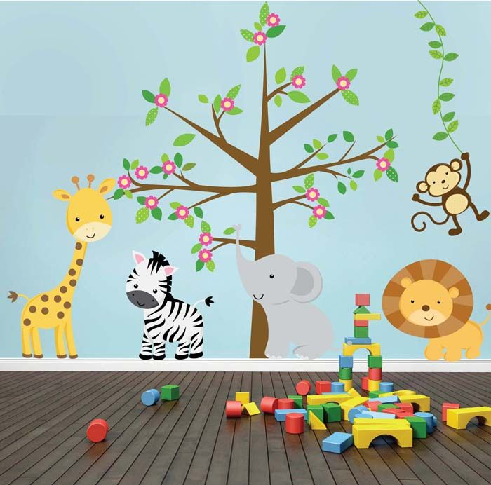 Kit de vinilo decorativo arbol con animales de la selva - Decoracion paredes habitacion infantil ...