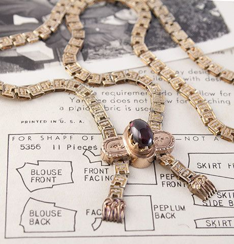 Victorian Book Chain Necklace with Garnet Cabochon, $625