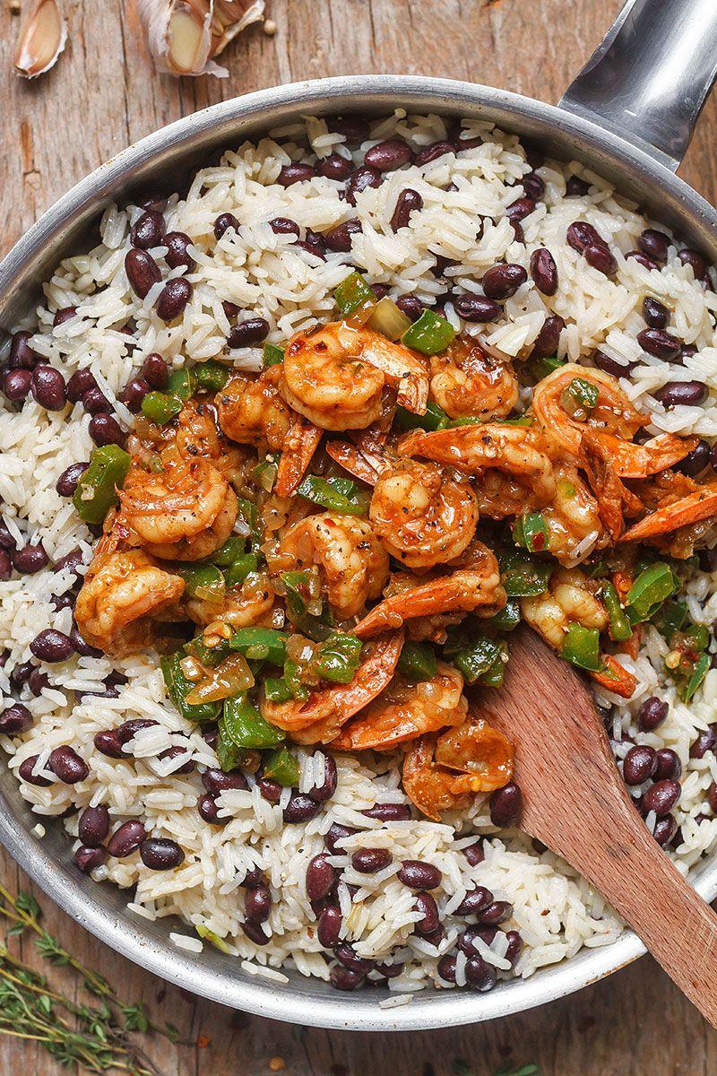 Spicy Jerk Shrimp, Rice and Black Beans #jerkshrimp