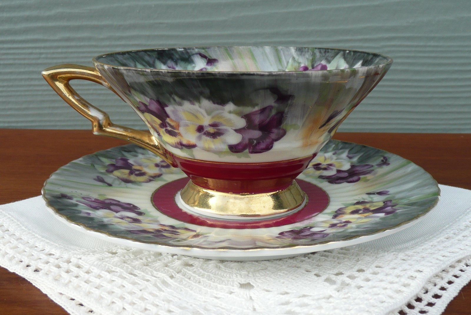 Vintage Pansy Pattern Pansies Tea Cup & Saucer Set ~ Unusual Shaped Teacup 7