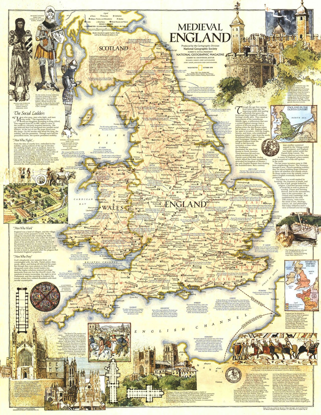 Geographic Map Of England.Map Of Medieval England By National Geographic Magazine October
