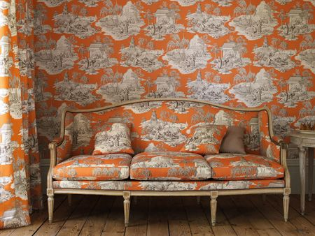 Orange Toile Wallpaper