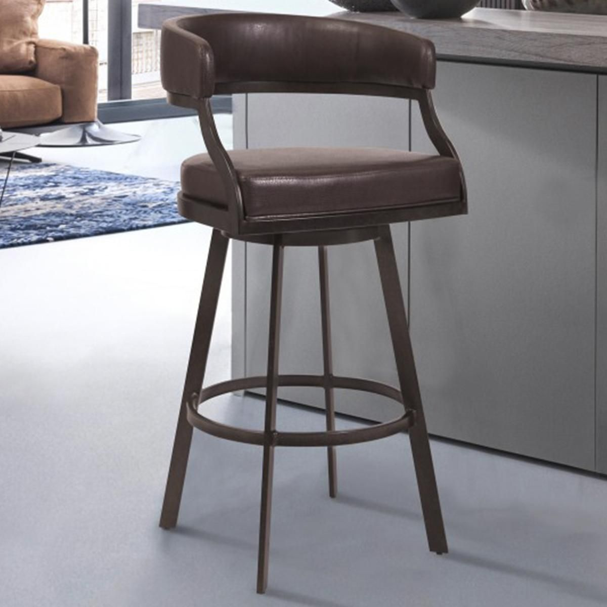 Blue River Saturn 30 Barstool With Ford Brown Seat In Auburn Bay