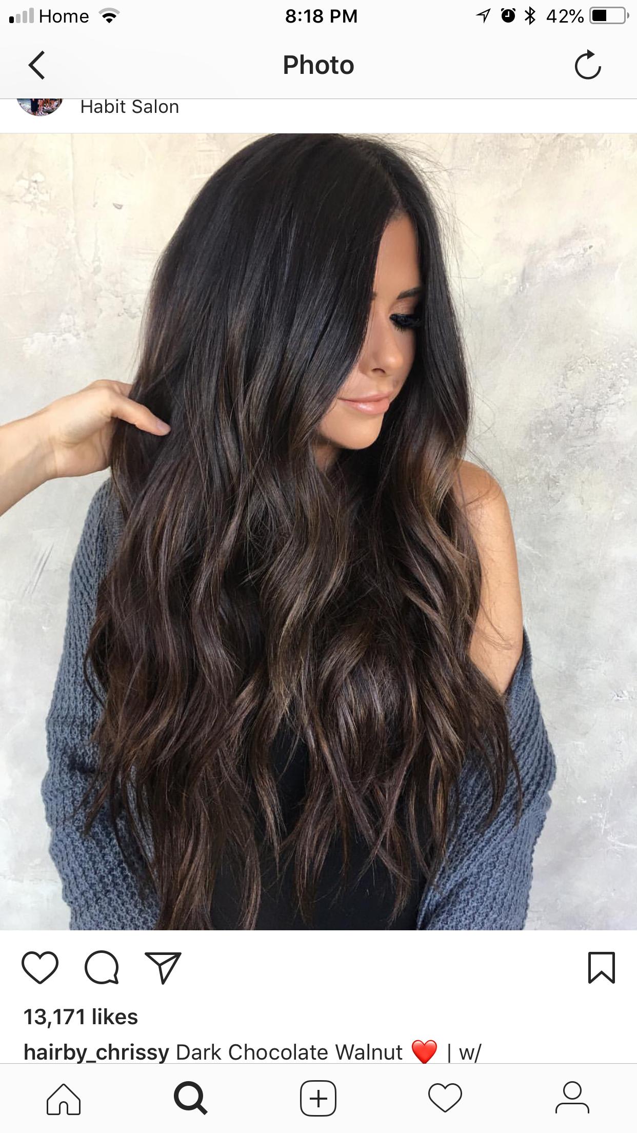 Dark Hair Subtle Highlights Long Hair Ideas In 2020 Long Dark Hair Brown Hair Balayage Hair Color Dark