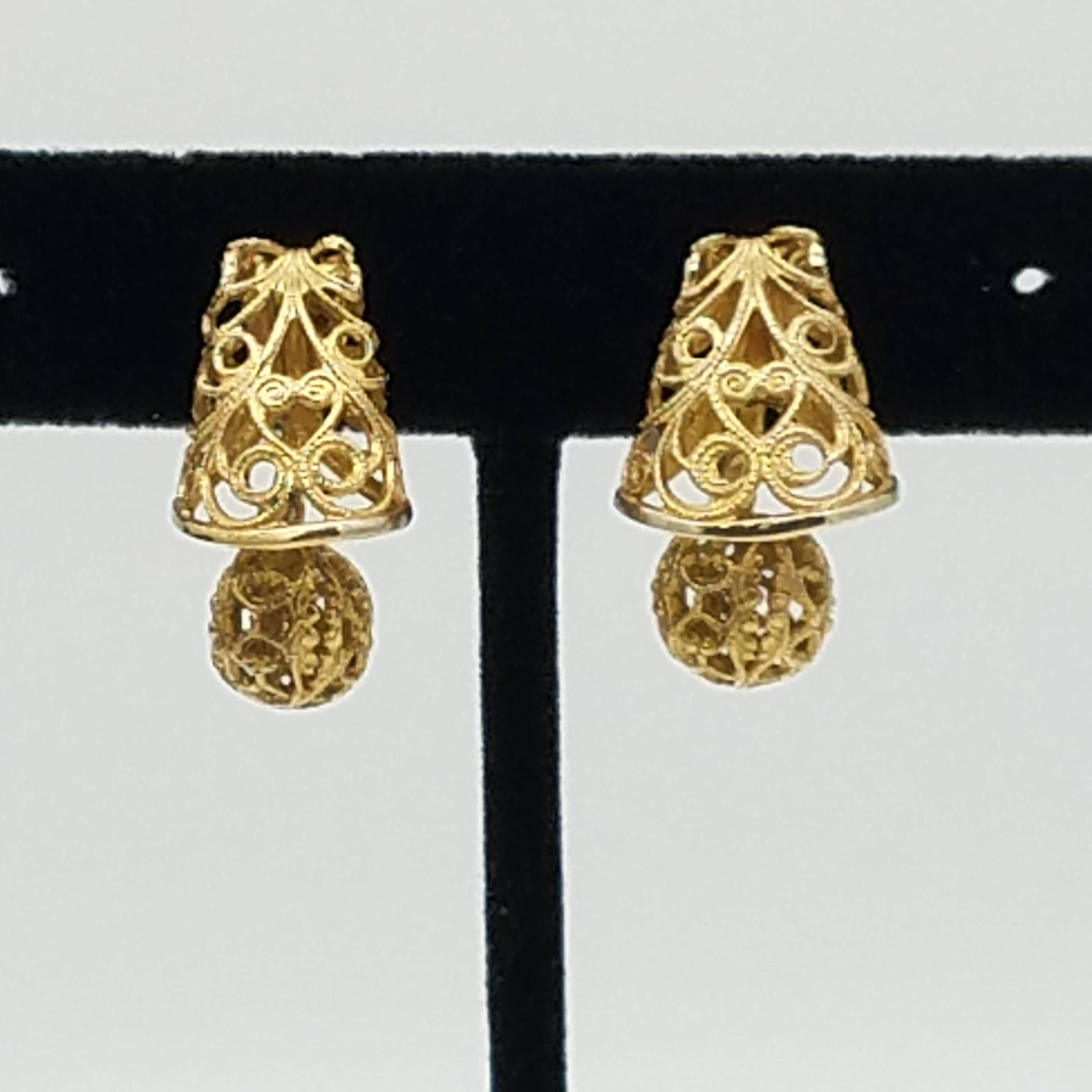 385207a86 Vintage Signed Alice Caviness Gold Tone Filigree Screw-Back Bell Shaped  Dangle Earrings by ThingsGrandmaKept1 on Etsy