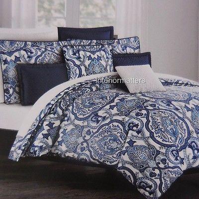 Tahari King Duvet Cover Set Floral Paisley Porcelain Navy Blue