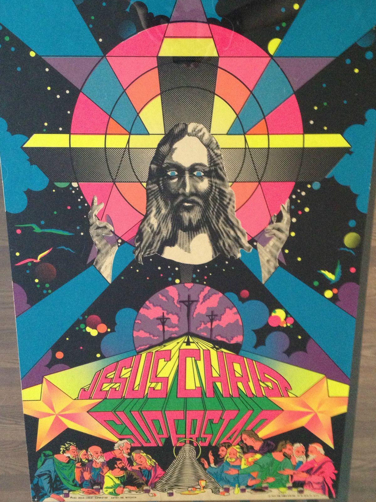 70s poster design - Vintage Black Light Poster Jesus Christ Superstar Third Eye Inc Psychedelic 70s Ebay