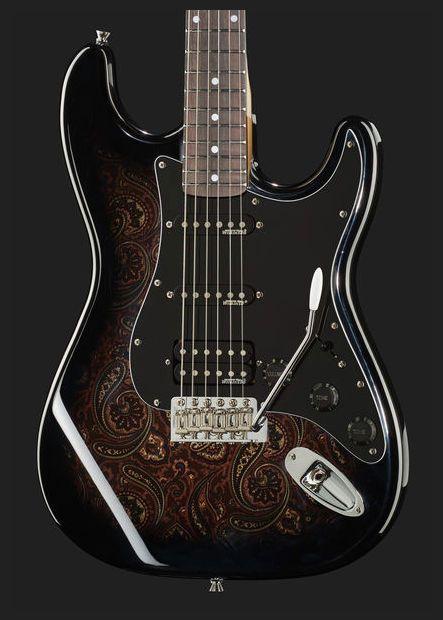 Harley Benton ST-70 Black Paisley | Hip Guitars | Guitar, Guitar art