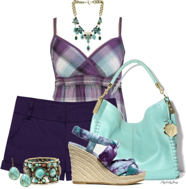 """Purple and Aqua Only"" by stylesbyjoey ❤ liked on Polyvore"
