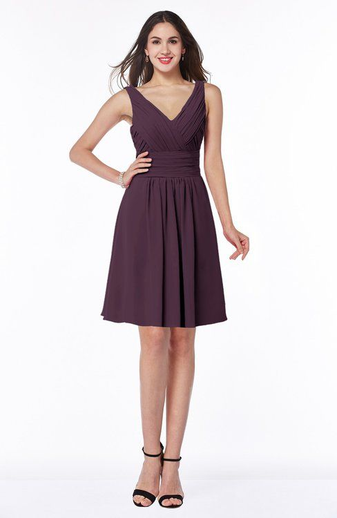 a2643a7a30e Plain Sleeveless Half Backless Chiffon Knee Length Ruching Plus Size  Bridesmaid Dresses
