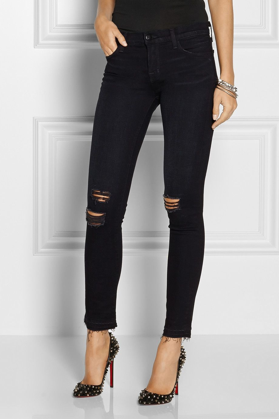 811 Distressed Mid-rise Skinny Jeans - Dark denim J Brand