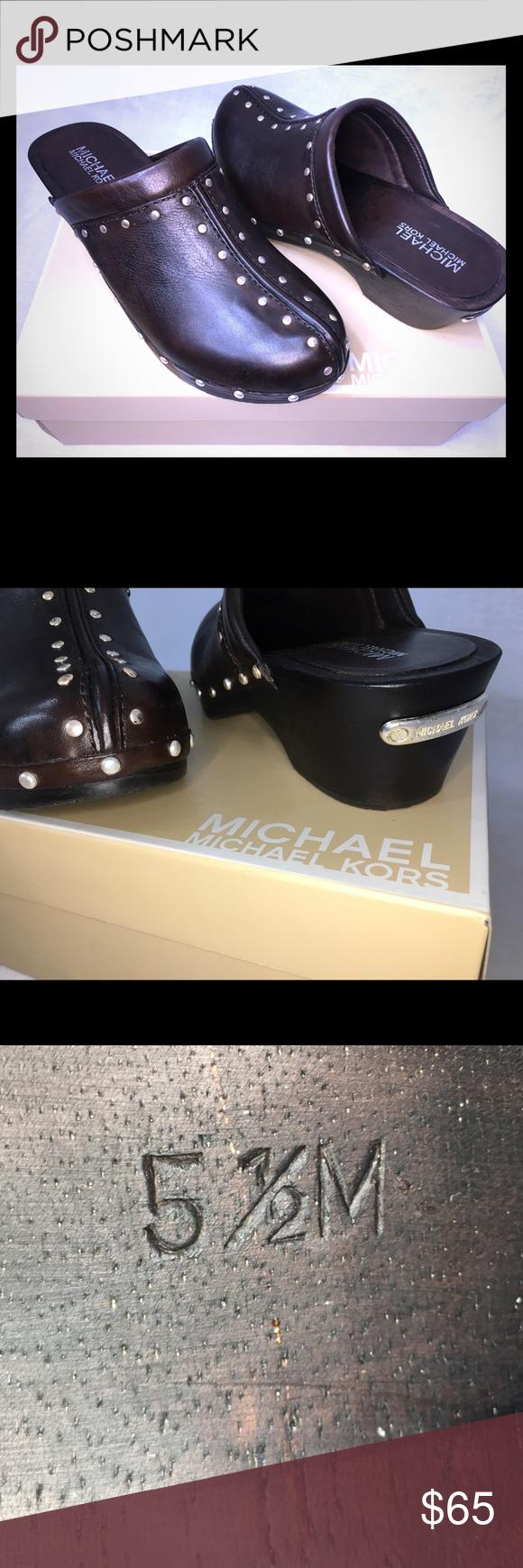 Michael Kors studded clogs (new in original box) New in original box - Michael Kors brown low studded clogs - size 5.5M Michael Kors Shoes Mules & Clogs