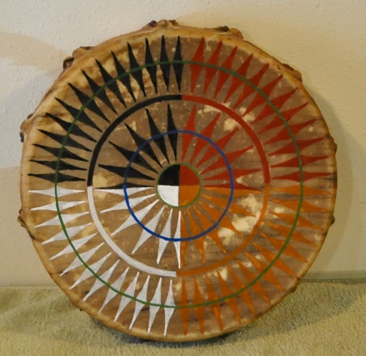 Medicine Wheel Power Native American Drum Painted By
