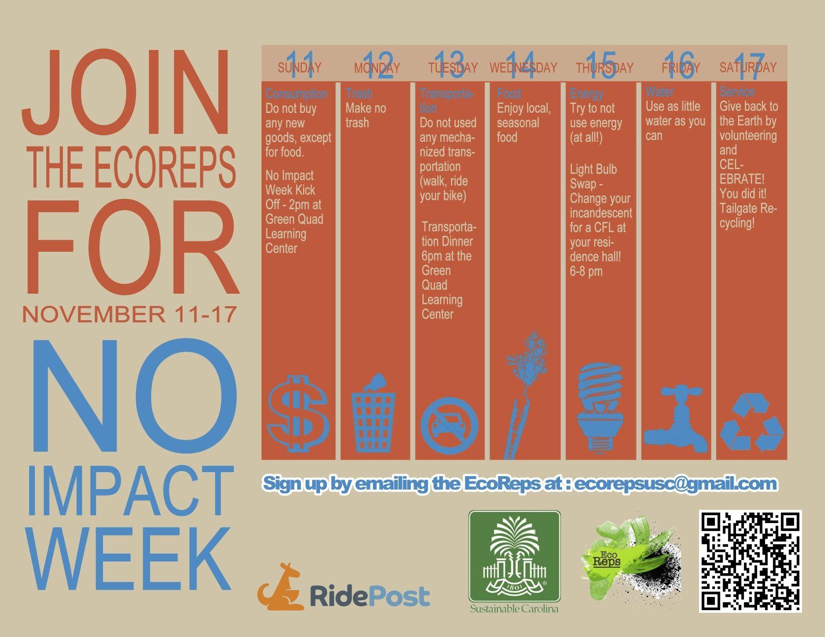 Usc Ecoreps No Impact Week Event Calendar Flyer Of Week Events
