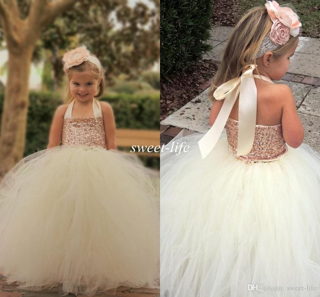 Cute Ivory Flower Girl Dresses 2015 Bling Rose Gold Sequin Halter Tutu Floor