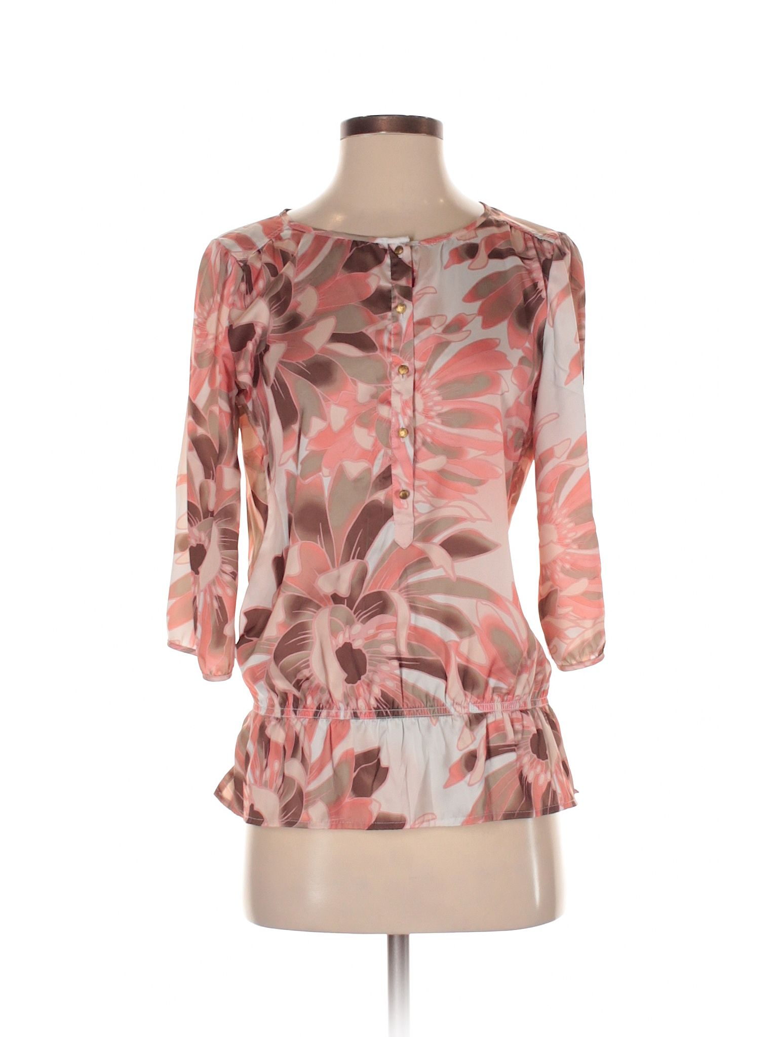 New York & Company 34 Sleeve Blouse Size 000 Coral