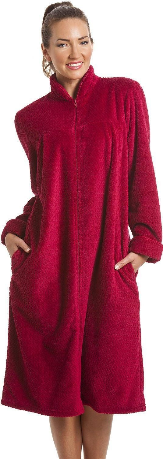 Camille Womens Ladies Soft Fleece Ruby Red Zip Front House Coat ...
