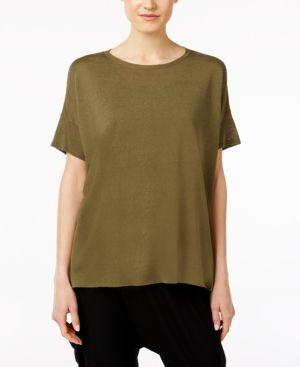 5c4039e118 Eileen Fisher Silk   Organic Linen High-Low Tunic -