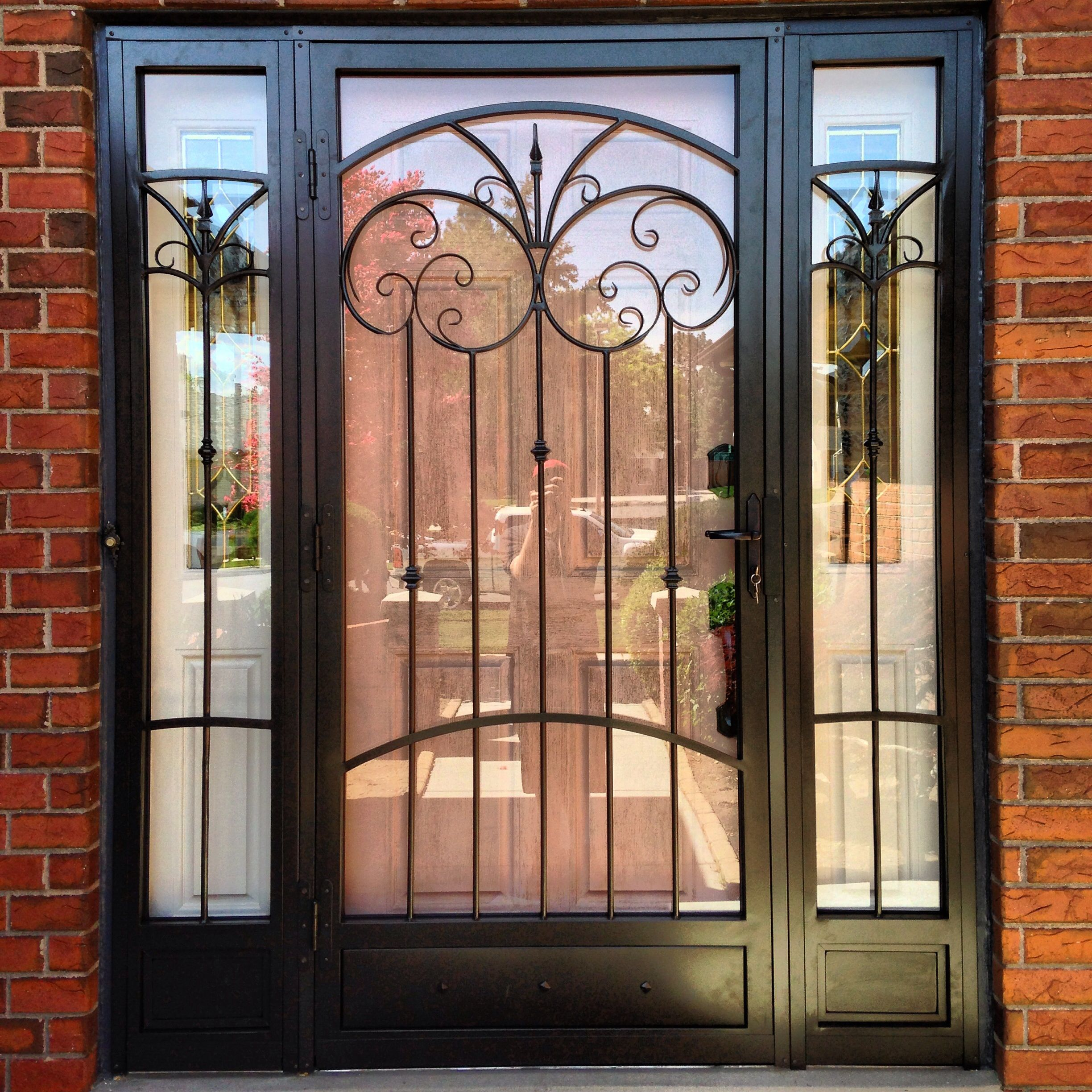 Steel Security Storm Door, Decorative Iron, Matching Sidelights