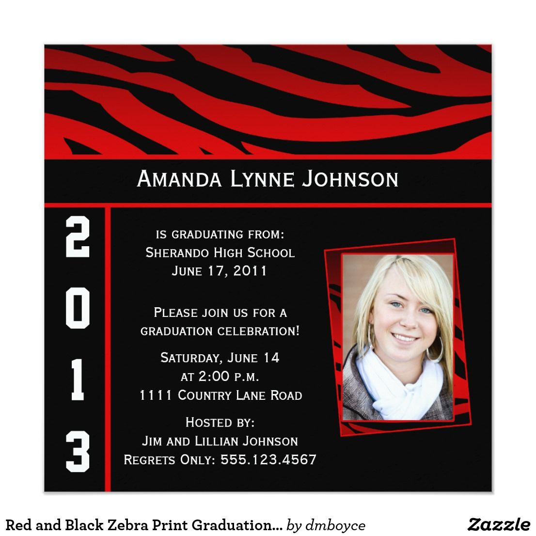 Famous zazzle graduation invitations frieze resume ideas red and black zebra print graduation invitation red and black zebra filmwisefo