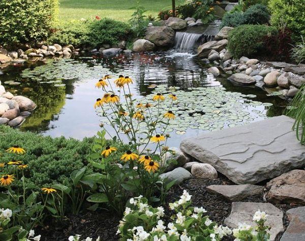 Wassergarten Teich See künstlich Tipps-Wasserfall Steine anlegen
