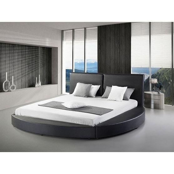 Best Greatime B1159 Queen Black Modern Round Bed Queen White 400 x 300