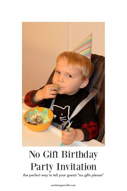 How To Word The Invitation A No Gift Birthday Parties For Kids