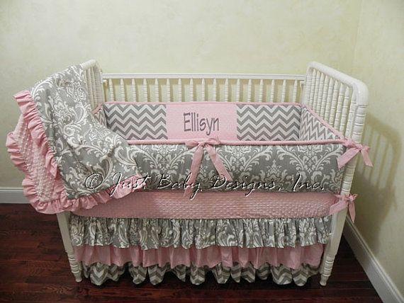 Baby Girl Bedding Set Ellisyn, Baby Girl Pink And Grey Cot Bedding