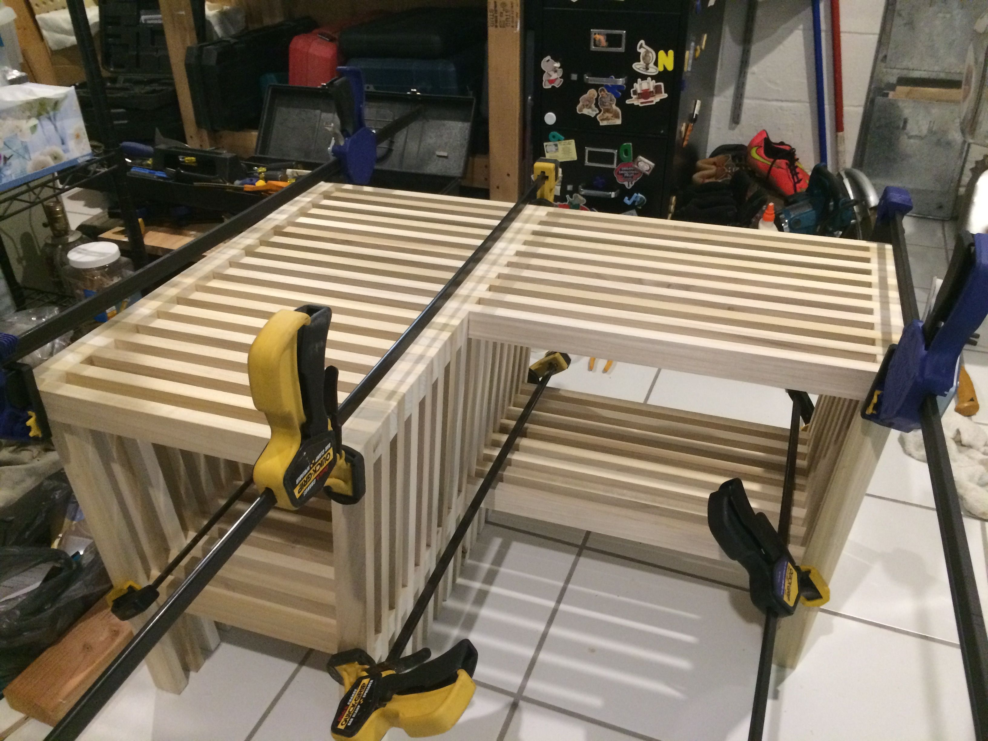Superb Diy Slatted Wood Bench Made Of Poplar Slatted Wood Gmtry Best Dining Table And Chair Ideas Images Gmtryco